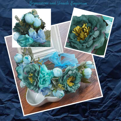 Silk Flower headpiece in teal, green and blue