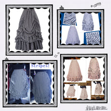 Striped and ruffled bustle skirts
