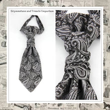 Silver and Black Paisley Brocade Cravat