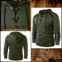 Olive Long Sleeve Top with Hood, Leather Straps on the arms and drawstring neck