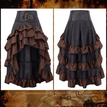 Saloon Days Steampunk Skirt in Walnut and Black