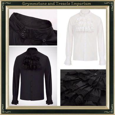 Gothic Shirt with Detachable Jabot in Black and Ivory