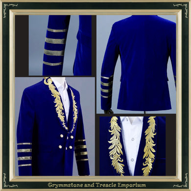 Royal Blue Velvet Embroidered Evening Jacket