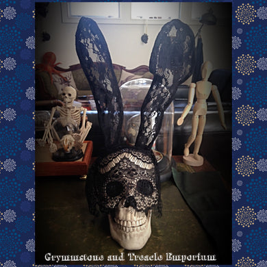 Lace bunny ears with lace veil - gothic