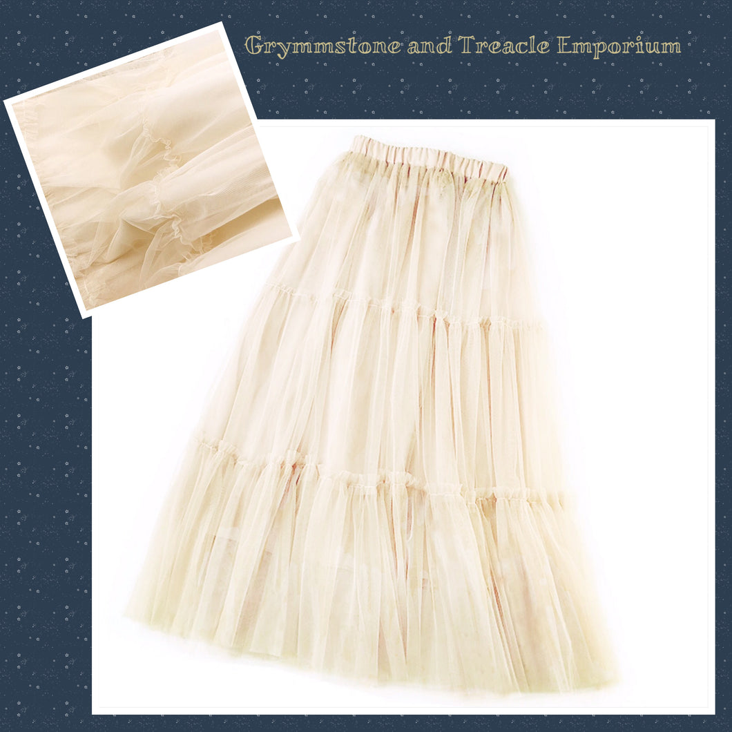 Cream layered tulle vintage style skirt or petticoat