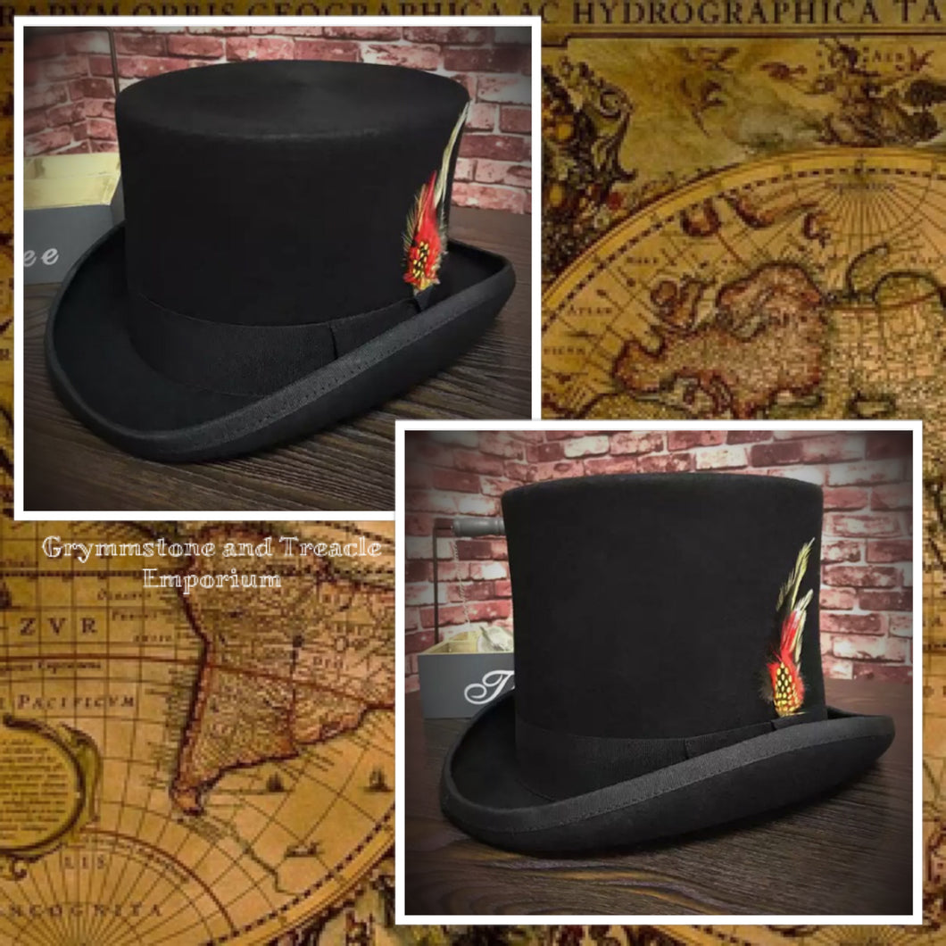 Victorian Style Traditional Black Top Hats