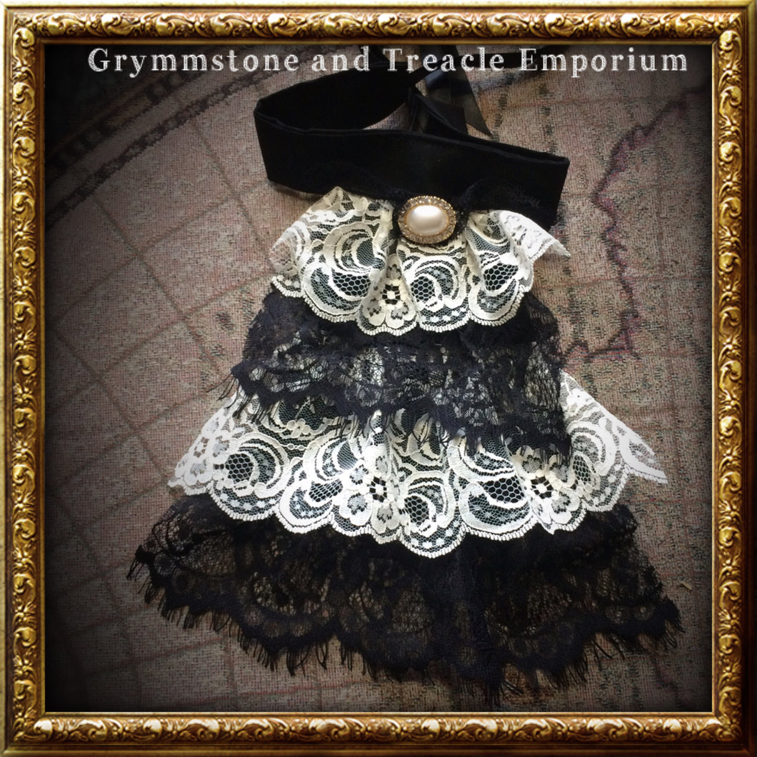 Steampunk and gothic handmade ivory and black lace jabot