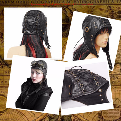 Steampunk Aviator Cap with Lacing and Brass Details in PU Leather
