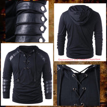 Hooded Top in Black with Long Sleeves and Leather Arm Straps