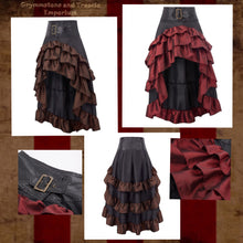 Saloon Days Steampunk Ruffle Skirt in Bordeaux and Walnut Brown