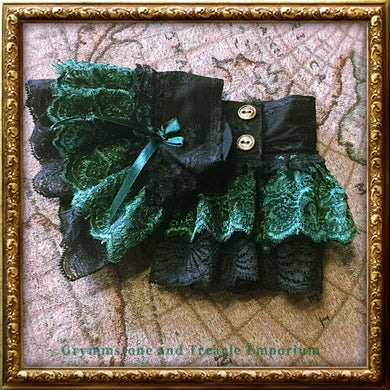Ruffled Cuffs in three layers of black and forest green lace - steampunk and gothic