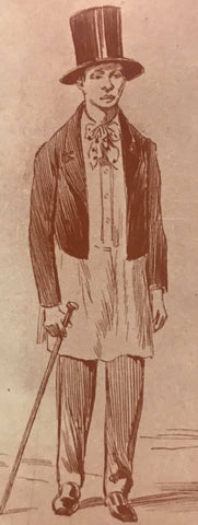 Illustration from the 1800's of an important Filipino man wearing a long Barong Tagalog like a shirt with a coat, tie, trousers, top hat and dress shoes. He is holding a cane in his right hand.
