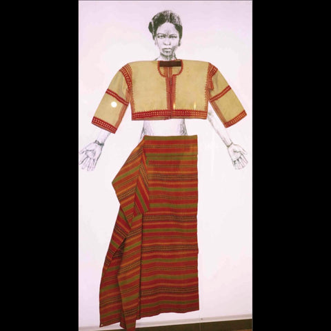 """From the 2014 exhibit """"Art and the Order of Nature in Indigenous Philippine Textiles"""" at the Ayala Museum in Makati City. Illustrates the shape and form of earliest woman's baro and loincloth/skirt"""