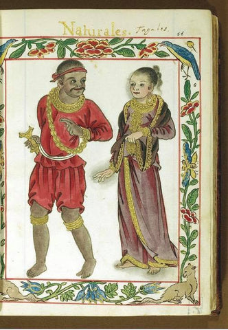 From the Boxer Codex: a royal Tagalog man in red with his wife.