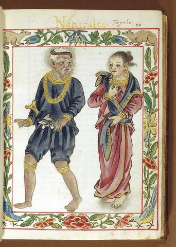 From the Boxer Codex: a Tagalog maginoo (noble, relative of a royal family) man in blue, which indicates his class, with his wife.