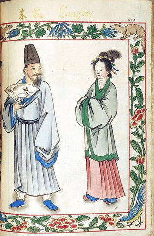 Chinese Sangley (mixed ancestry with Arab and Iranian) couple living in Manila. This painting is from the Boxer Codex circa 1590. They wear Hanfu clothing from the Ming Dynasty.