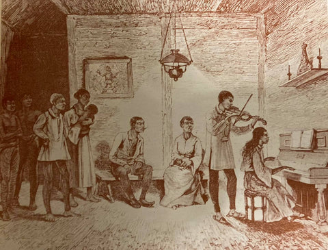 Artist rendering of a middle class household in the Philippines likely circa 19th century. The violin player on the right wears a long pleated Barong Tagalog.