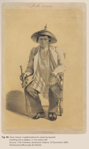 El Gobernadorcillo by CW Andrews. A municipal leader of the principal class is seated and wears a jacket over his Barong Tagalog