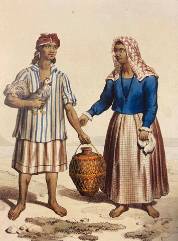 Indiens Bisayas [Native Visayans], 1846, from Jean Mallat. A visayan man is in a striped Barong and woman in baro't saya