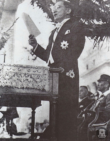 On October 14, 1943, Laurel stands at his inauguration in suit and tie at the Legislative Building in Manila