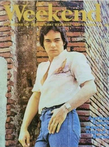 Singer, actor and activist Anthony Castelo models a hand painted Franco Barong Tagalog on the cover of Weekend magazine circa 1981