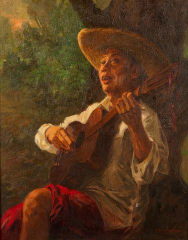 """""""A Little Serenade"""" painted by R.B. Enriquez, 1948. Guitar player performs in his Barong Tagalog, red pants and hat"""