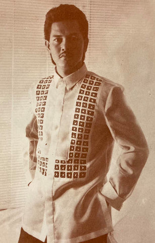 Alex Tinsay in a Renee Salud full button down barong with U-shape front embroidery