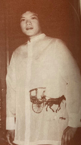 An Aureo Alonzo Barong Tagalog with a calesa hand painted on the front.
