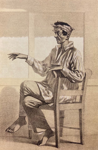 El Mediquillo by C. W. Andrews - man in loose, striped Barong Tagalog sits in chair while smoking cigarette
