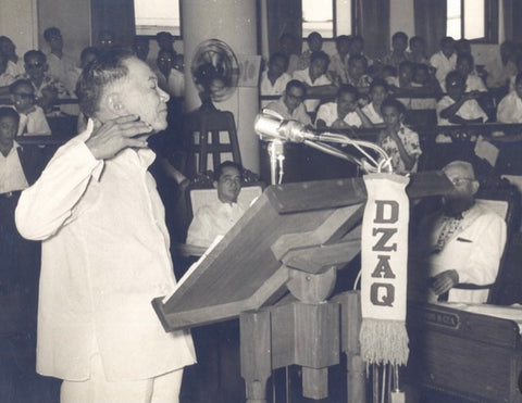 During his second term as a senator, Laurel addresses congress in a jusi Barong Tagalog in 1953.