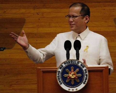 Aquino gives his second State of the Nation Address in a Barong Tagalog on July 25, 2011