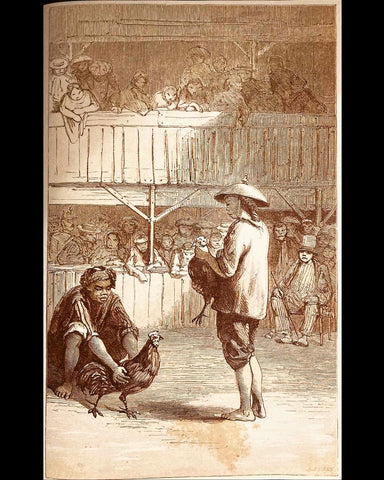 Gallera or Cock-Pit (1859) from Sir John Bowring - two men in Barong Tagalog hold their roosters in a multilevel cockfighting arena