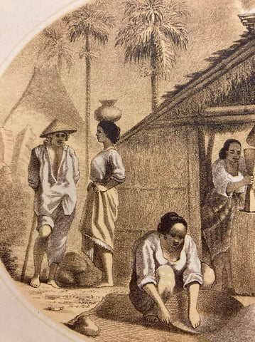 Cuadro de Costumbres by C. W. Andrews - left side - Filipino women process rice and a male vendor in barong interacts with woman vendor