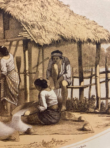 Cuadro de Costumbres by C. W. Andrews - right side - Filipino women process rice and a man in a Barong Tagalog sits on a fence