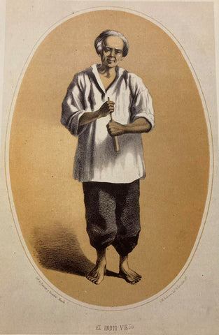 El Indio Viejo by C. W. Andrews (1859) - elderly native Filipino man in white work Barong Tagalog and dark pants