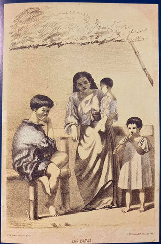 C. W. Andrews' Los Batas - A mother in baro't saya stands with her 3 kids. The boy wears an indigo barong and knickers