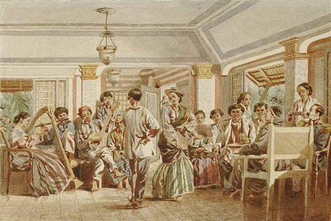 C. W. Andrews - Untitled - Ballroom Dancing Scene with Filipino men in Barong Tagalog