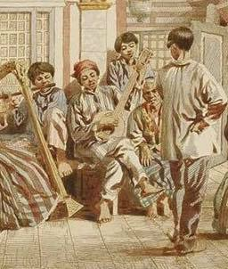 C. W. Andrews - Untitled (left side closeup) - Ballroom Dancing Scene with Filipino men in Barong Tagalog