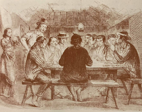 Commoners playing cards. The males wear striped barongs, striped pants and putong or hats. Illustration from de la Torre's The Barong Tagalog.
