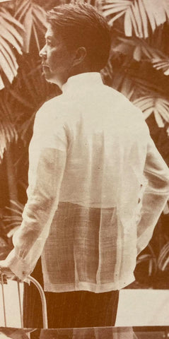 The back of Chito Antonio's Barong Tagalog which features wide spaced vertical pleats