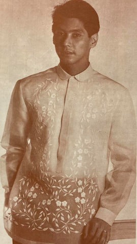 Roger Pronstroller models an Antonio Barong Tagalog featuring a floral machine embroidery design