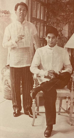 Chito Antonio (left) with Roger Pronstroller (right) both wearing barongs designed by Antonio
