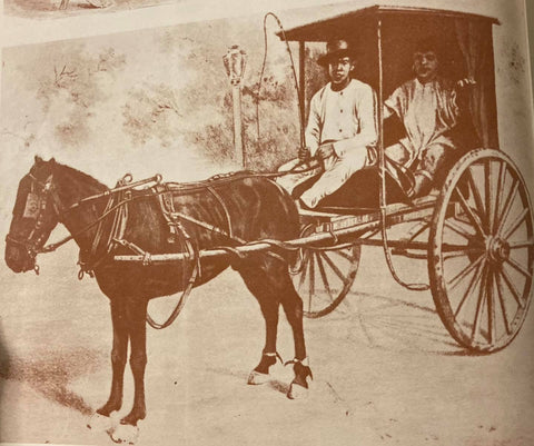Illustration of native cocheros (carriage drivers), likely from 19th century, wearing camisa de chino, salawal and European hats. From de la Torre's The Barong Tagalog
