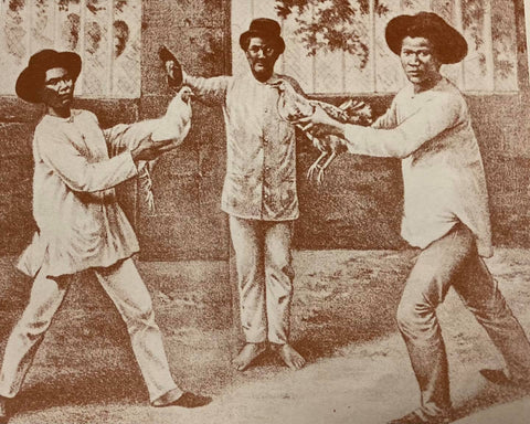 Native males at cock fight, likely circa 19th century, wear camisa de chino. Illustration from Visitacion R. de la Torre's The Barong Tagalog: The Philippines' National Wear (1986).
