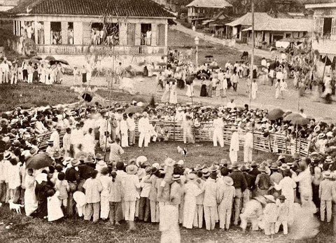 A town cockfighting event centered around a fighting pen or ring in early 1900's. The men wear white barongs, camisa de chino or white suits