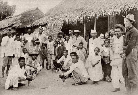 A town cockfight in front of homes shows local Filipino men (in camisa de chino or barongs), women and children with one American soldier