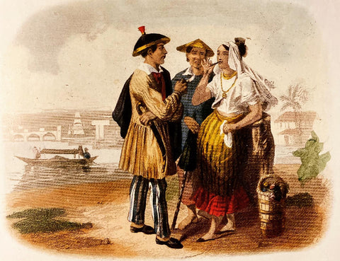 Habitans de Manille, 1850, by F.J. Collignon. Two men in barongs and a woman in Manila smoking cigars and interacting