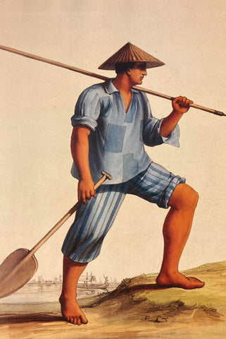 Batelier de Manille - 1843 - by Pierre Charles Comte. A Filipino male boat worker in his Barong Tagalog