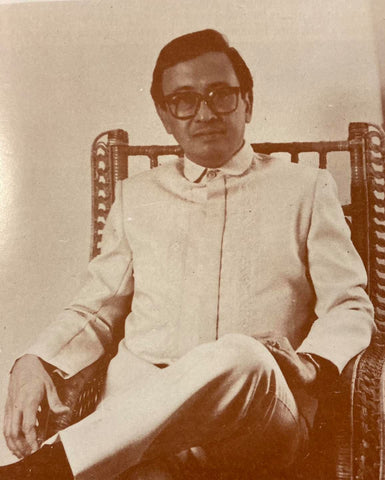 Former Philippine Airlines chairman Roman A. Cruz in a suit jacket barong by Pitoy Moreno