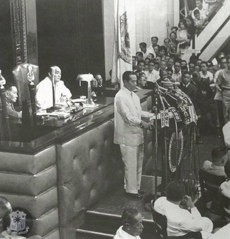 President Macapagal, in Barong Tagalog, gives his first State of the Nation Address in the Legislative Building in Manila on January 22, 1962